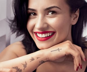 demi lovato, girl, and red lips image