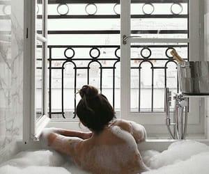 girl, bath, and white image