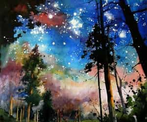 art, painting, and stars image