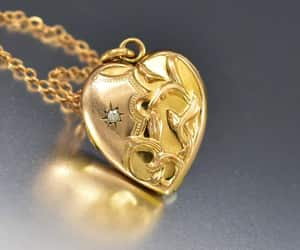 art, gold, and necklace image