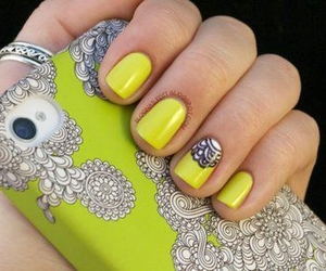 nails, yellow, and iphone image