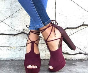 burgundy, heels, and shoes image
