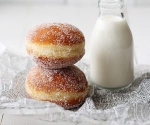 food, milk, and donuts image