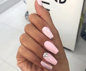 pink nails, nail inspo, and girly inspo image