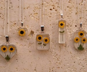 flowers, sunflower, and necklace image