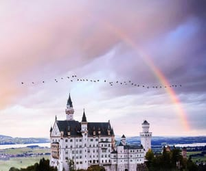 castle, rainbow, and sky image