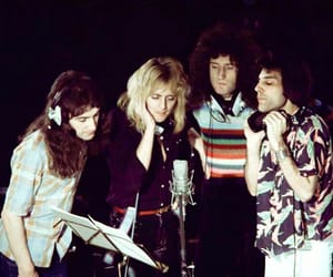 Queen on the set of the 'somebody to love' video, 1976.