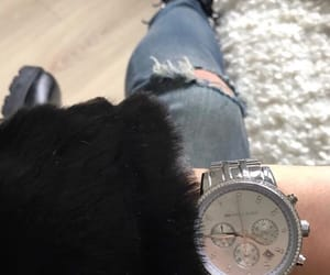 clock, clothing, and jeans image