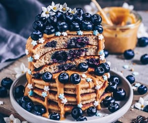 blueberry, pancakes, and vegan image