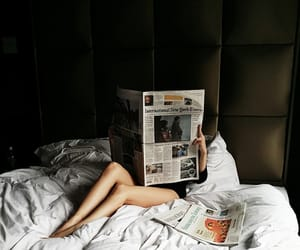 newspaper, bed, and morning image