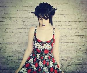 alt girl, flower dress, and goth image