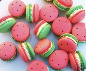 pink, watermelon, and ‎macarons image