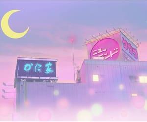 moon, anime, and pink image