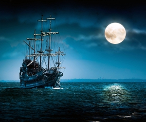 moon, night, and ship image