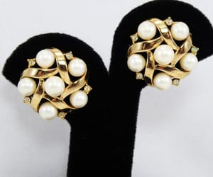 etsy, mid century, and pearl earrings image