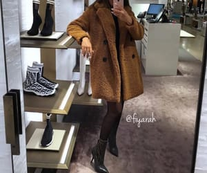 fashion style, teddy bear coat, and goal goals life image