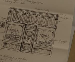 bakery, parchment, and sketch image