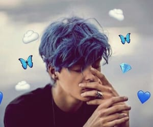 blue hair, butterflies, and generation image