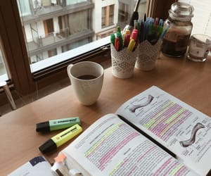 coffee, college life, and study desk image