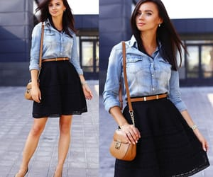 black skirt, casual, and look image