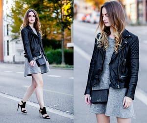 black, black heels, and black jacket image