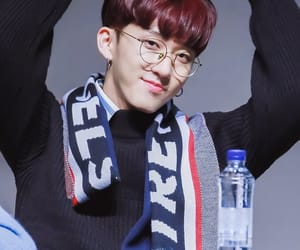 glasses, red brown hair, and stray kids image