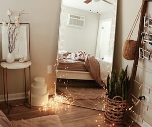 room, mirror, and light image