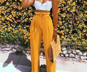 yellow, fashion, and flowers image