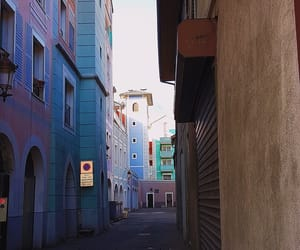 alley, blue, and buildings image