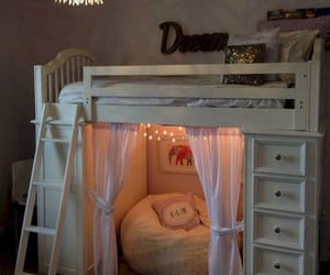 bedroom, bunk bed, and reading image