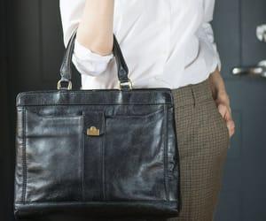 etsy, leather handbag, and black tote bag image