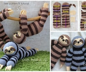 sew, sock toys, and sock sloth image
