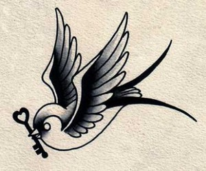 bird, key, and tattoo image
