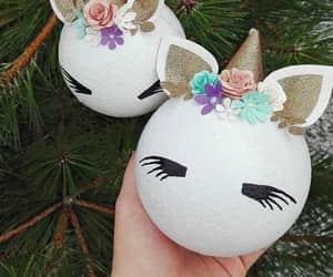 christmas, decorations, and unicorns image