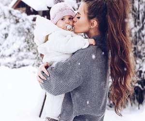 baby, snow, and family image
