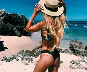 beach, cliffs, and girl image