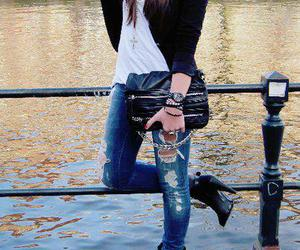 black, casual, and ripped jeans image
