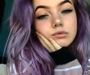 girls, grunge, and purple hair image