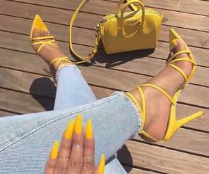 nails, yellow, and fashion image