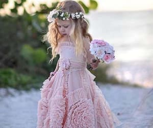 pink wedding dresses and unique flower girl dress image