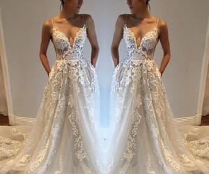 cheap prom dress, v-neck party dress, and ivory party dress image
