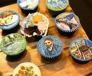 art, blue, and cupcakes image