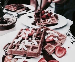 chocolate, waffle, and desert image