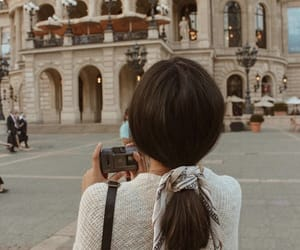 camera, girl, and city image