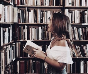 books, library, and girl image