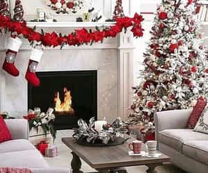 christmas, decorations, and fireplace image