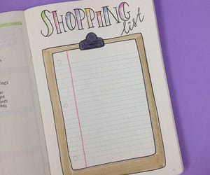 list, bullet journal, and shopping image