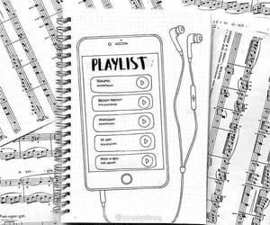 music, playlist, and bullet journal image