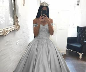 dress, crown, and gold image