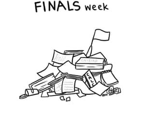 books, finals week, and gif image